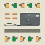 Fotokameran, fotofilmerna och batterierna vektor illustrationer