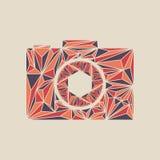 Fotokameratecken på en vit bakgrund Tecken för polygonfotokamera stock illustrationer