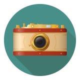 Fotokamerazeichen auf einem weißen Hintergrund Stockbild