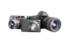 Fotokameror av olika grupper 3d framför på vit ingen skugga Arkivbilder