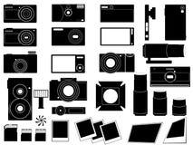 Fotokameror och stoppar för fotografi Vektor Illustrationer