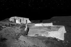 Fotokonst - upplyst egenskap på natten arkivbild
