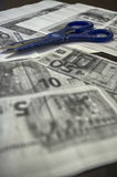 Fotokopieën van euro rekeningen Stock Foto