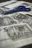 Fotokopior av euroräkningar Arkivfoto