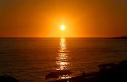 Fotolandskapsolnedgång på havet Arkivbilder