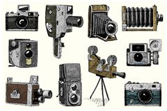 Fotologoemblemet eller etiketten, videoen, filmen, filmkamera från första för kassalådan tappning nu, den inristade handen som in stock illustrationer