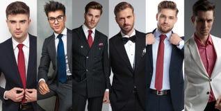 Fotomontage von den sechs eleganten Porträts der jungen Männer stockbilder