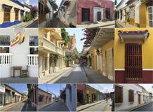 Fotomosaikcollage av Cartagena, Colombia Royaltyfria Bilder