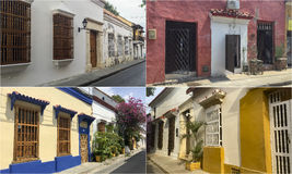 Fotomosaikcollage av Cartagena, Colombia Royaltyfri Foto