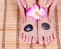 Fotomsorg, härlig kvinnlig fot och räcker med den franska manicuren på bambu som är matt med orchidblomman Arkivfoton