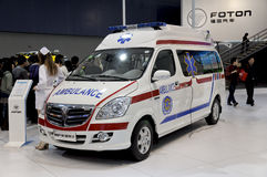 FOTON Ambulance car. Chinese brand,FOTON Ambulance car in its exhibition hall,in 2010 international Auto-show GuangZhou. it is from 20/12/2010 to 27/12/2010 Stock Photo