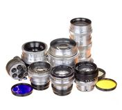 Fotoobjektiv und andere Ausrüstung Lizenzfreie Stockfotos