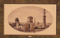 Fotoprentbriefkaar van de horizon van Kaïro, de jaren 1900 van Egypte stock fotografie