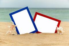 Fotorahmen auf dem Strand, Fotografie auf dem Strand, Seeoberteile, Lizenzfreie Stockbilder