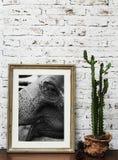 Fotorahmen des Elefanten auf Tabelle Stockfotografie