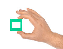 Fotorahmen für Dia in der Hand Stockfotos
