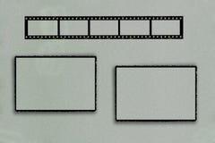 Fotorahmen mit Filmstreifen und zwei rechteckigen Rahmen stockfotografie