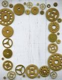 Fotoram, från ett stort antal klockakugghjul på en wh Royaltyfria Bilder