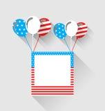 Fotoram och ballonger i nationella färger för USA, lång skugga Fotografering för Bildbyråer