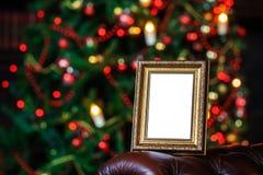 Fotoramen i jul dekorerade bakgrund Arkivbilder