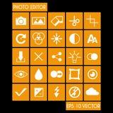 Fotoredacteur Icon Set Stock Afbeelding