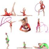 Fotoreeks Jonge kampioen in ritmische gymnastiek royalty-vrije stock foto's