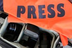 Fotoreporter-Ausrüstung Stockfoto