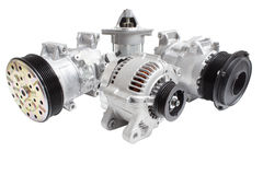 Fotos auf der Zusammensetzung der drei Teile für die Maschine Generator, Klimaanlagenkompressor und der Starter lizenzfreies stockbild