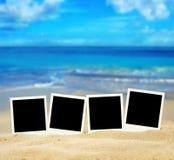 Fotos on the beach. Polaroid fotos on the beach Stock Photo