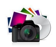 fotos de la cámara y diseño cd del ejemplo Fotografía de archivo libre de regalías