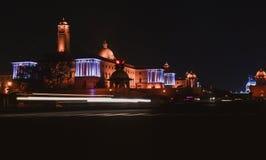 Fotos de la noche de Rashtrapati Bhavan en Nueva Deli, la India fotos de archivo libres de regalías