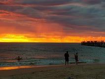 Fotos de la puesta del sol de la playa de Noarlunga del puerto Fotografía de archivo libre de regalías