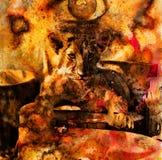 Fotos del cachorro de león y collage abstracto de pintura Ojo Fotos de archivo libres de regalías