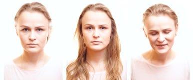 Fotos del pasaporte de la muchacha con diversas emociones. Foto de archivo libre de regalías