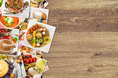 Fotos do alimento em um fundo de madeira Fotografia de Stock Royalty Free