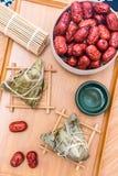 Fotos do close-up do zongzi e do jujuba em Dragon Boat Festival imagem de stock royalty free