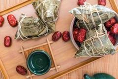 Fotos do close-up do zongzi e do jujuba em Dragon Boat Festival imagem de stock