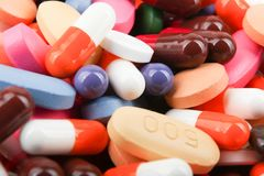 Fotos do estoque da imagem da cor do fundo dos comprimidos da medicina imagem de stock