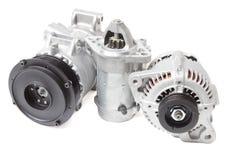 Fotos en la composición de las tres piezas para el motor Generador, compresor del aire acondicionado y el arrancador fotos de archivo
