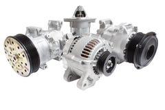 Fotos en la composición de las tres piezas para el motor Generador, compresor del aire acondicionado y el arrancador imagen de archivo libre de regalías