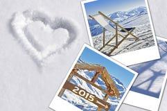 2015, Fotos im Schnee Lizenzfreies Stockfoto