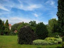 Fotos mit Landschaftsdekorativer Landschaft entwerfen, Europa-` s ältester botanischer Garten in der polnischen Stadt von Breslau Lizenzfreies Stockbild