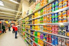 Fotos no hipermercado Auchan Foto de Stock