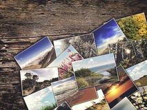 Fotos velhas do vintage em um fundo de madeira Fotografia de Stock