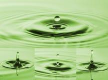 Fotosamling av droppar som faller in i vatten Färgstänk av bevattnar Arkivbilder