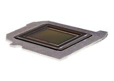 Fotosensor auf einer Metallplatte mit einem weißen Hintergrund Stockbild