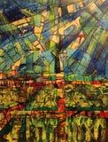 Fotossíntese e plantas, pintura linear abstrata imagens de stock royalty free