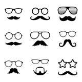 Fotostützen Manngesichter mit Gläsern und dem Schnurrbart herr detektiv Vektor Lizenzfreie Stockbilder