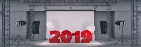 Fotostudio 2019 het 3d teruggeven stock illustratie