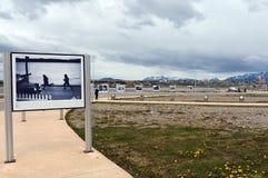 Fototentoonstelling over de oorlog van de Falkland Eilanden op het gebied van Malvinas Eilanden in Ushuaia Stock Afbeelding